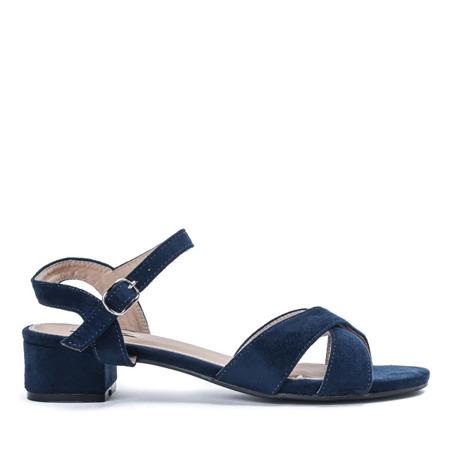 Granatowe sandały na niskim słupku Sana - Obuwie