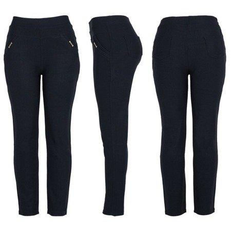 Granatowe spodnie z wysokim stanem - Spodnie
