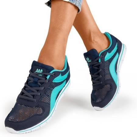 Granatowe sportowe buty damskie z niebieskimi wstawkami Kannasi - Obuwie