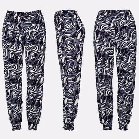 Granatowo-białe spodnie z lekkiego materiału - Spodnie