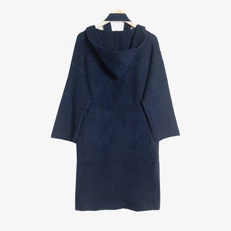 Granatowy sweter kardigan z kapturem - Odzież