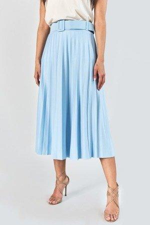 Jasnoniebieska plisowana spódnica midi z paskem - Odzież