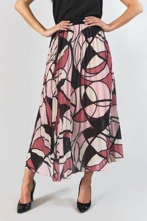 Jasnoróżowa plisowana spódnica z geometrycznym printem - Odzież