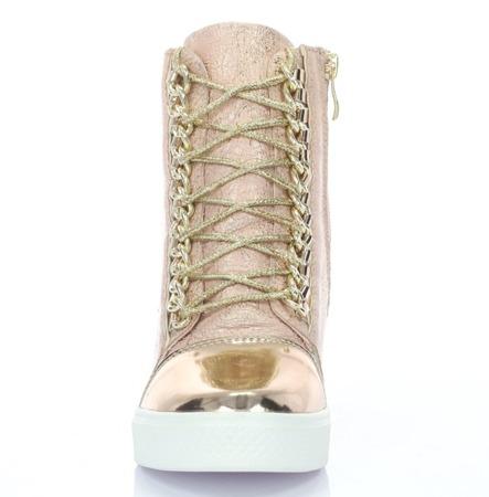 Jasnoróżowe sneakersy na koturnie - Obuwie