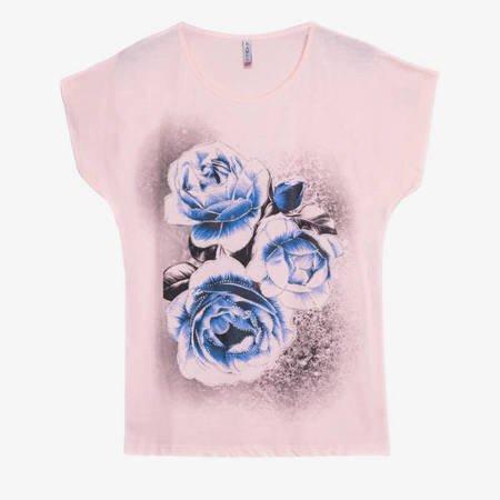 Jasnoróżówy t-shirt damski z printem w kwiaty - Odzież