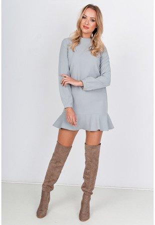 Jasnoszara sukienka mini z falbankami - Odzież