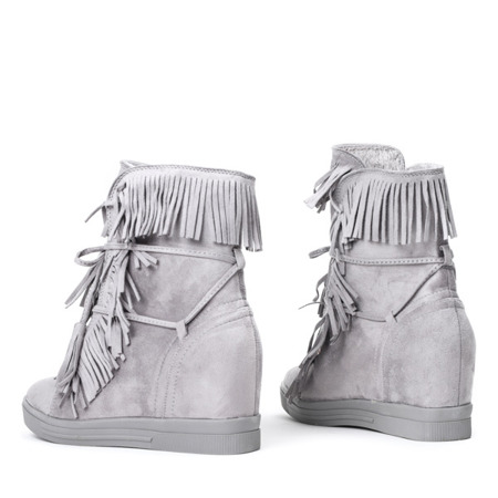 Jasnoszare sneakersy na krytym koturnie Carmelita - Obuwie