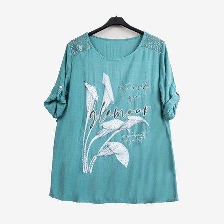 Jasnozielona tunika damska z printem i napisami - Odzież