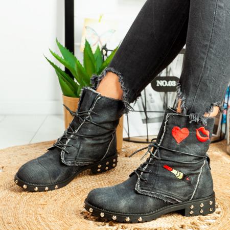 Jeansowe workery w kolorze czarnym Eduina - Obuwie