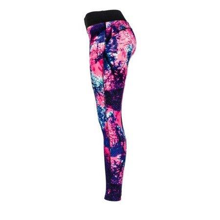Kolorowe legginsy z przewagą neonowego różu - Spodnie