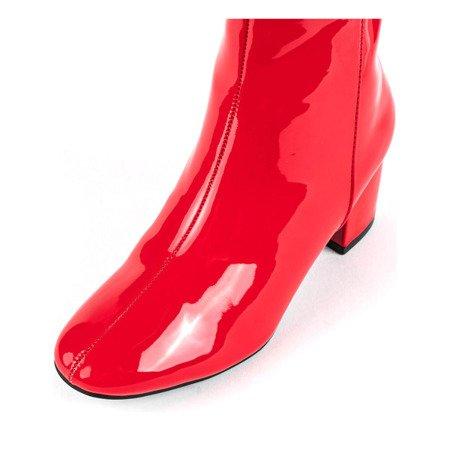 Lakierowane botki na słupku w kolorze czerwonym Lekha - Obuwie