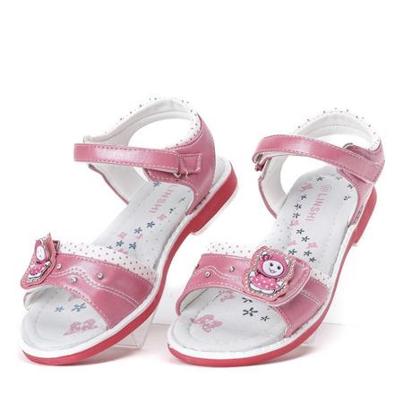 Malinowo-białe dziewczęce sandały z aplikacją Ran- Obuwie