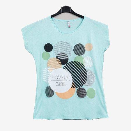 Miętowy t-shirt damski zdobiony welokolorowym printem - Odzież