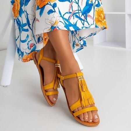 Musztardowe sandały z frędzelkami Minikria - Obuwie