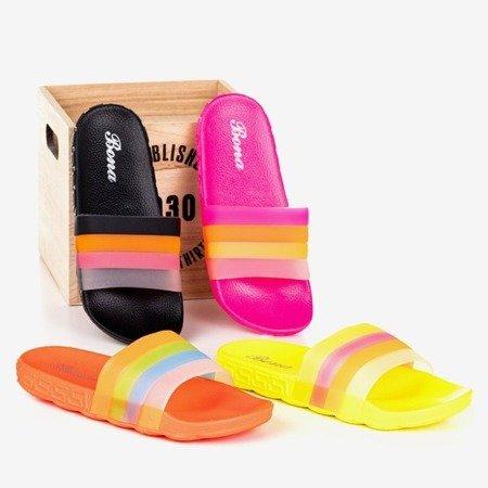 Neonowe różowe klapki damskie Florinda - Obuwie