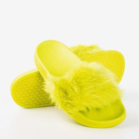 Neonowe zielone klapki z futerkiem Millie- Obuwie