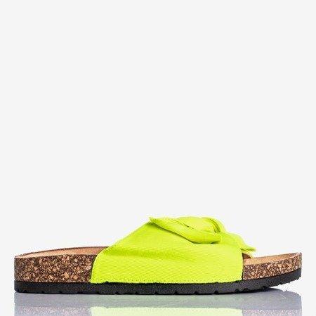 Neonowe żółte klapki z kokardką Sunshine - Obuwie