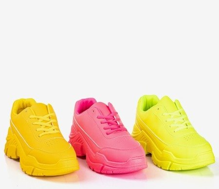 Neonowe żółte sneakersy damskie na masywnej podeszwie Lera - Obuwie