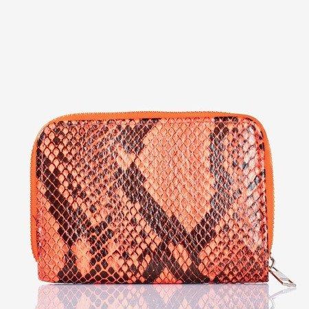 Neonowy pomarańczowy mały portfel a'la skóra węza - Portfel