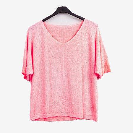 Neonowy różowy damski sweter - Odzież
