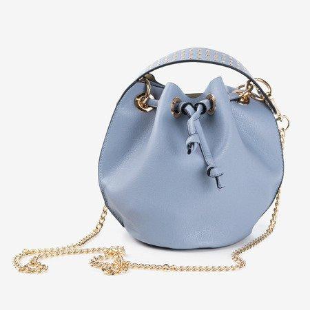 Niebieska torebka na ramię ze złotymi dżetami - Torebki