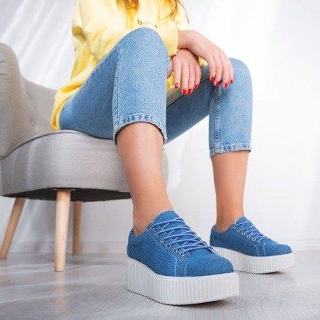 Niebieskie buty sportowe na platformie Sewila - Obuwie