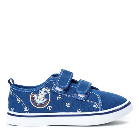 Niebieskie chłopięce buty na rzepy Hookie - Obuwie