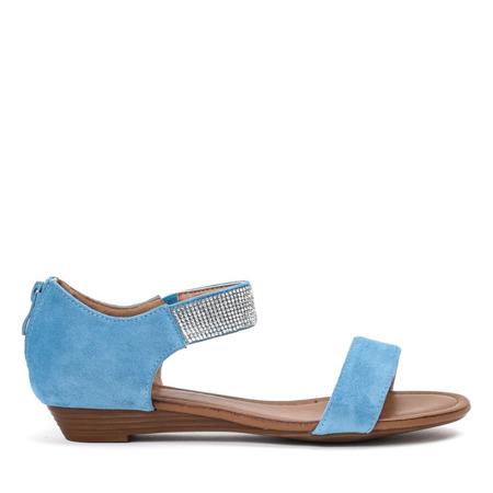 Niebieskie sandały na niskiej koturnie Acellia - Obuwie