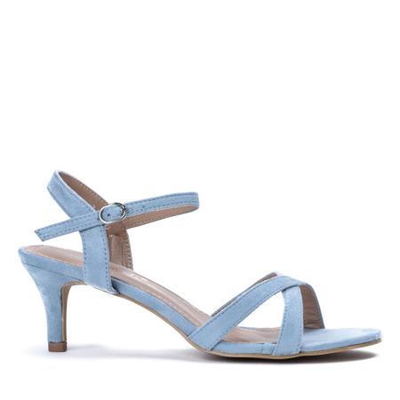 Niebieskie sandały na niskiej szpilce Severina - Obuwie