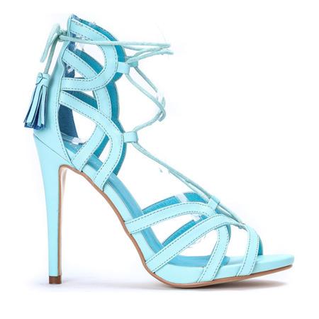 Niebieskie sandały na szpilce Nulia - Obuwie