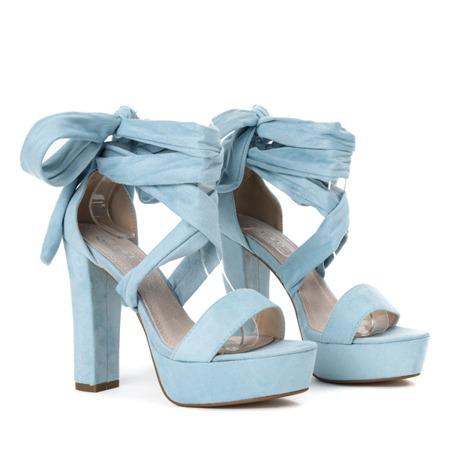 Niebieskie sandały wiązane na wysokim słupku Molier - Obuwie
