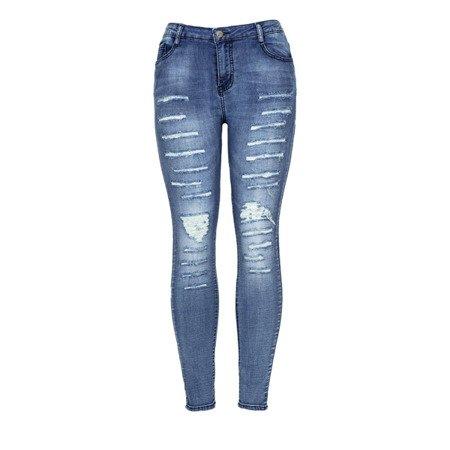 Niebieskie spodnie jeansowe z dziurami - Spodnie