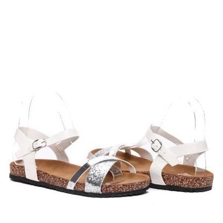 OUTLET Biało-srebrne sandały z brokatowym paseczkiem Nincoa - Obuwie