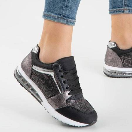 OUTLET Czarne buty sportowe ze zdobieniem a'la skóra węża Obsession - Obuwie