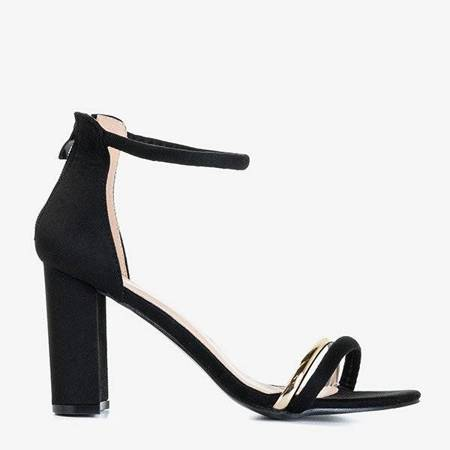 OUTLET Czarne sandały damskie na wysokim obcasie Callisia - Obuwie