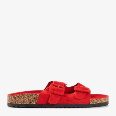 OUTLET Czerwone damskie klapki z klamrami Recasa - Obuwie