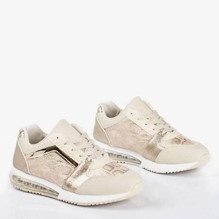 OUTLET Złote buty sportowe ze zdobieniem a'la skóra węża Obsession - Obuwie