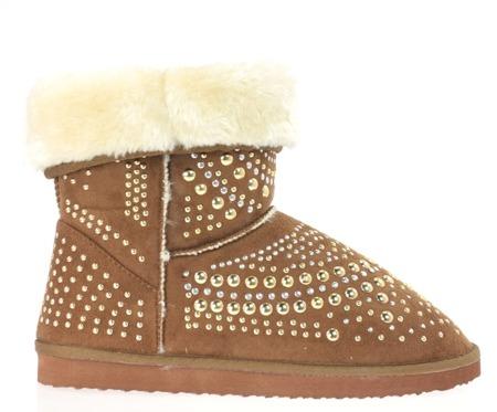 Ocieplane, brązowe śniegowce z dżetami - Obuwie