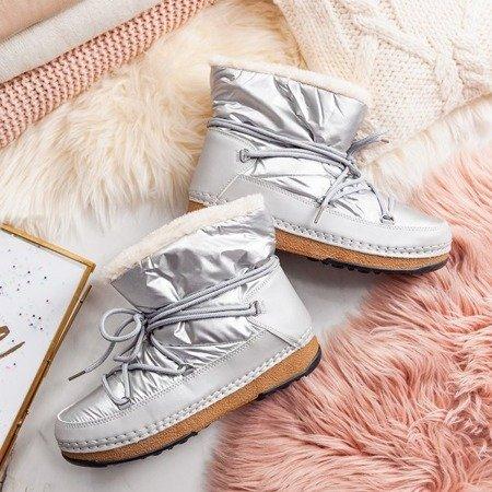 Ocieplane śniegowce w kolorze srebrnym Sofya - Obuwie