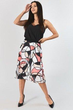 Pomarańczowa plisowana spódnica z geometrycznym printem - Odzież