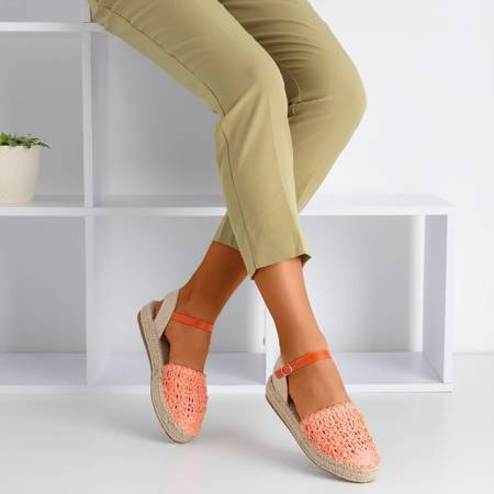 Pomarańczowe damskie espadryle z ażurową cholewką Triumf - Obuwie