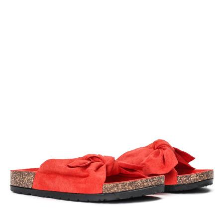 Pomarańczowe klapki z kokardką Summer Blow - Obuwie