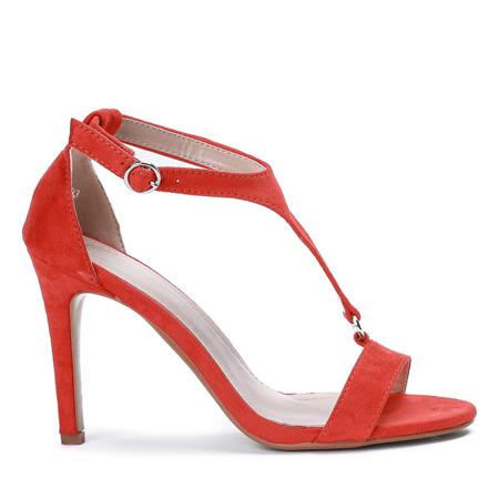 Pomarańczowe sandały na wysokiej szpilce Rosie - Obuwie