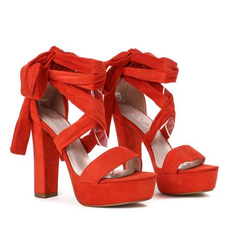 Pomarańczowe sandały wiązane na wysokim słupku Molier - Obuwie