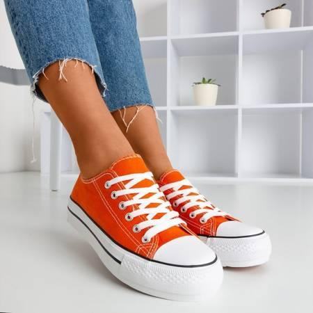 Pomarańczowe trampki damskie Habena - Obuwie