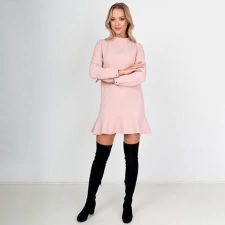 Różowa sukienka mini z falbankami - Odzież