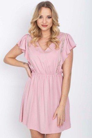 Różowa sukienka na krótki rękaw - Odzież