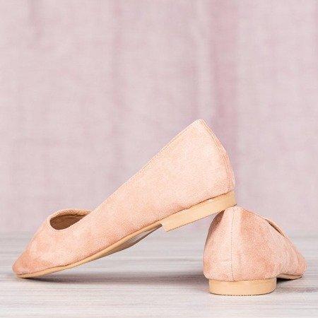 Różowe baleriny ze szpicowatym noskiem Revissela - Obuwie