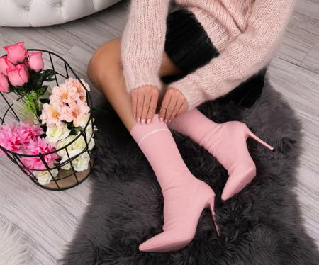 Różowe botki a'la skarpetka Kinsley - Obuwie