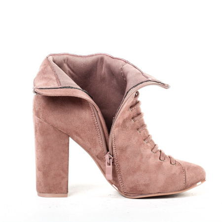 Różowe botki na słupku Pierena - Obuwie
